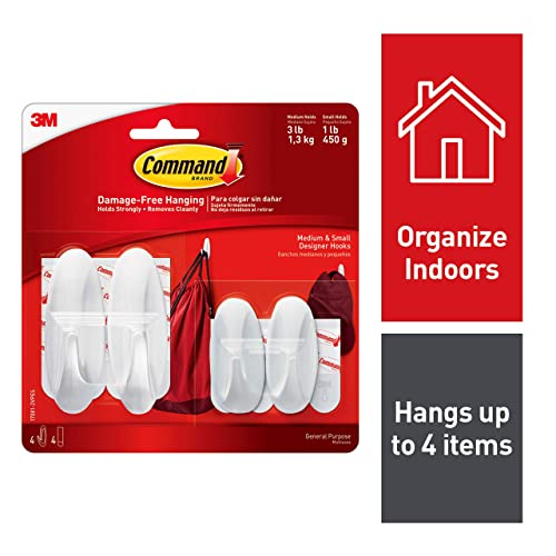Command Designer Plastic Hooks, 2-Small, 2-Medium