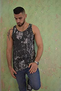 Men's Tank Top Sleeveless Beater, Size S, Black Gray Graphic Printed Wash, Training Sports Everyday Wear for Men
