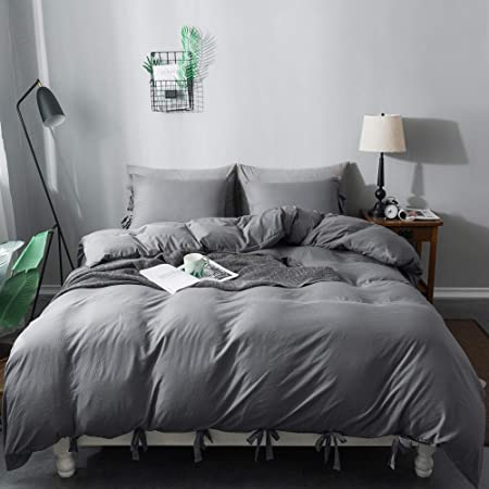 annadaif Washed Microfiber Bow Tie Duvet Cover, 2 Pieces (1 Pillowcase,1 Duvet Cover) Ultra Soft Bowknot Duvet Cover Set, Easy Care Bedding Set for Men, Women (Dark Grey, Twin)