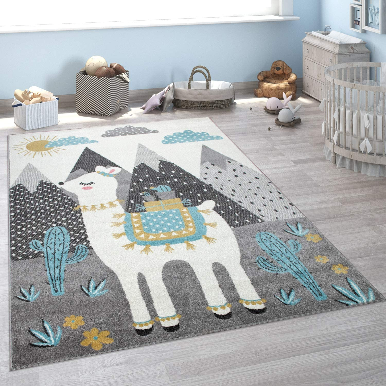 Monta/ña Alfombra Pelo Corto Habitaci/ón Llama tama/ño:80x150 cm Dise/ño Infantil Gris Multicolor