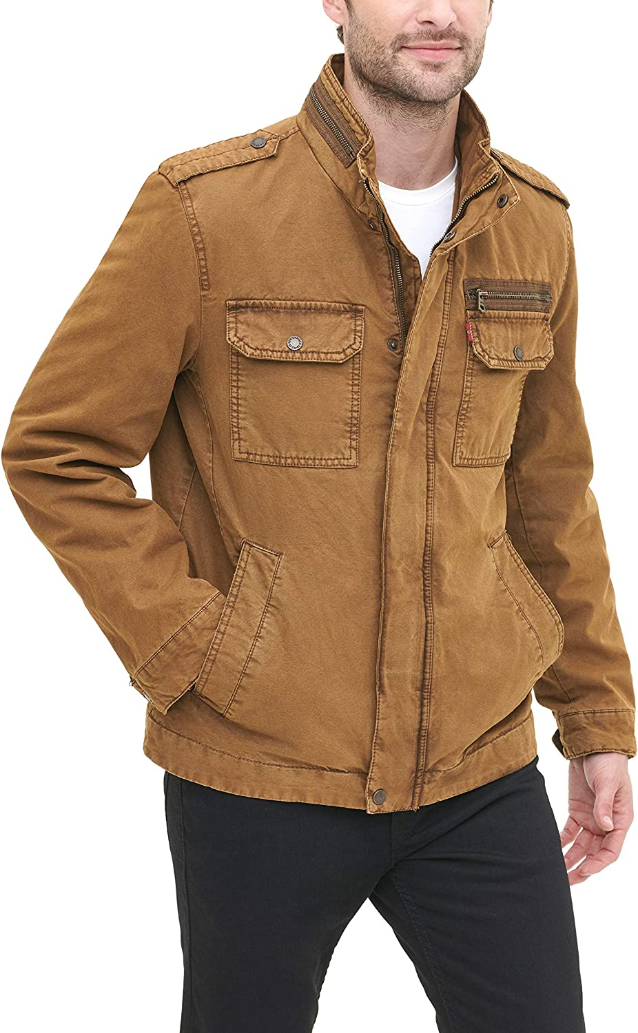 Levi's Men's Washed Cotton Two Pocket Sherpa Lined Military Jacket at  Men's Clothing store