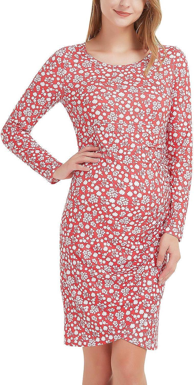 GINKANA Women's Ruched Maternity Bodycon Dress Causual Long Sleeve Knee Length Mama Dresses