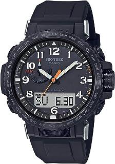 Men's Pro Trek Stainless Steel Quartz Watch with Silicone Strap, Black, 22 (Model: PRW-50Y-1ACR)