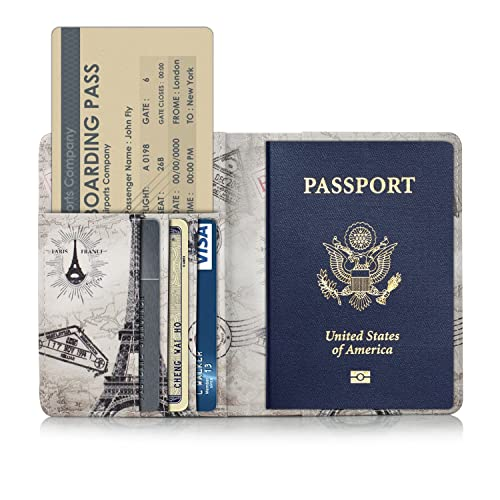 TDA Travel Passport Holder Wallet Multi-Purpose RFID Blocking ID Cards PU Leather Case Cover