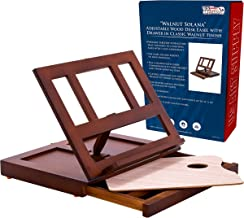 U.S. Art Supply Walnut Solana Adjustable Wood Desk Table Easel with Storage Drawer, Paint Palette, Premium Beechwood - Portable Wooden Artist Desktop, Board for Canvas, Painting, Drawing, Book Stand