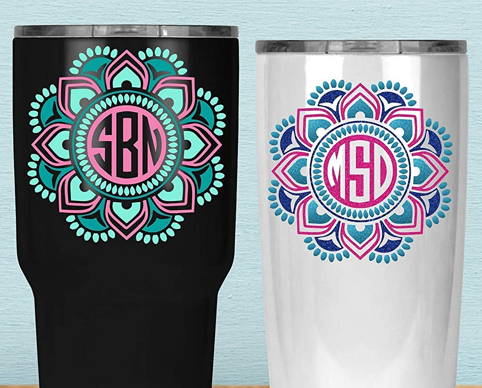 Custom Mandala Monogram Yeti Decal Three Color Boho Sticker For Yeti Your Choice Of Size And Colors
