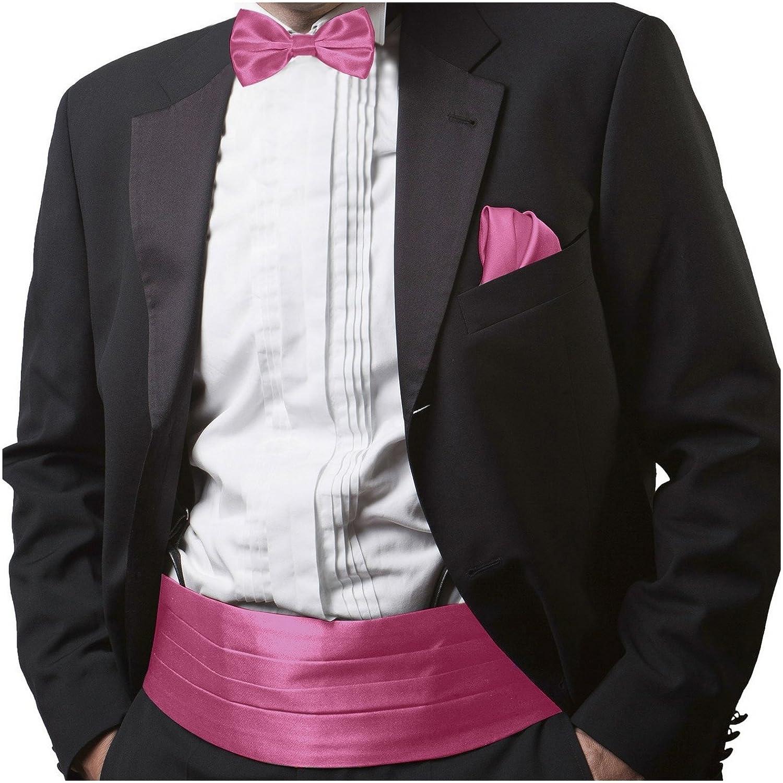 GASSANI Men's Shiny Satin Cummerbund, Pretied Bow Tie & Pocket Square