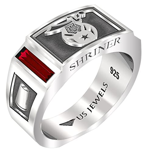 Ruby Red Masonic Rings: Amazon com