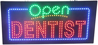 LED Dentist Open Light Sign Super Bright Electric Advertising Display Board for Dental Care Clinic Cosmetic Dentistry DDS Business Shop Store Window Bedroom 24 x 12 inches
