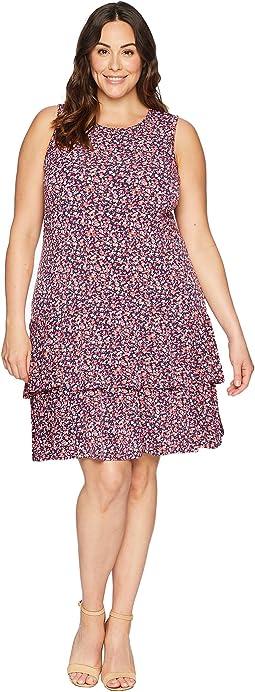 Plus Size Wildflower Sleeveless Flounce Dress