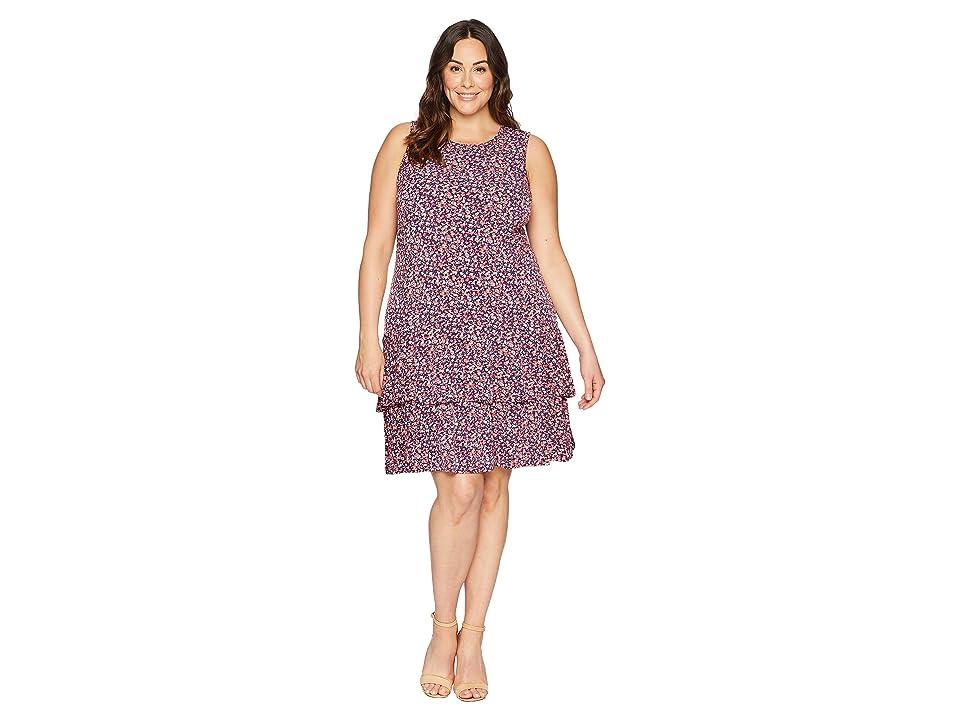 MICHAEL Michael Kors Plus Size Wildflower Sleeveless Flounce Dress (True Navy/Bright Blush) Women
