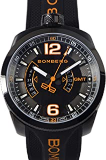MENS GMT WATCH and POCKET WATCH BOLT-68 BLACK WITH DARING ORANGE ACCENTS