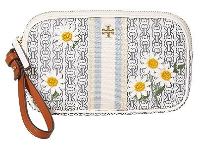 Tory Burch Gemini Link Canvas Applique Wristlet (New Ivory Gemini Link) Handbags