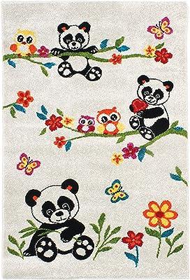Tapis Enfant Toucher Laineux Imprimé Petits Pandas, 100cm x 150cm, Écru