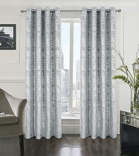 Alexandra Cole Blackout Window Curtains for Bedroom Living Room Velvet Room Darkening Curtains Luxury Silver Foil Print Dr...