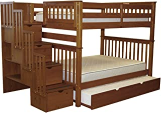 Bedz King Stairway Bunk Beds Full over Full with 4 Drawers in the Steps and a Twin Trundle, Espresso