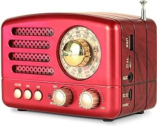 PRUNUS M-160BT Retro Bluetooth Speaker, Portable AM FM Shortwave Rechargeable Radio,..