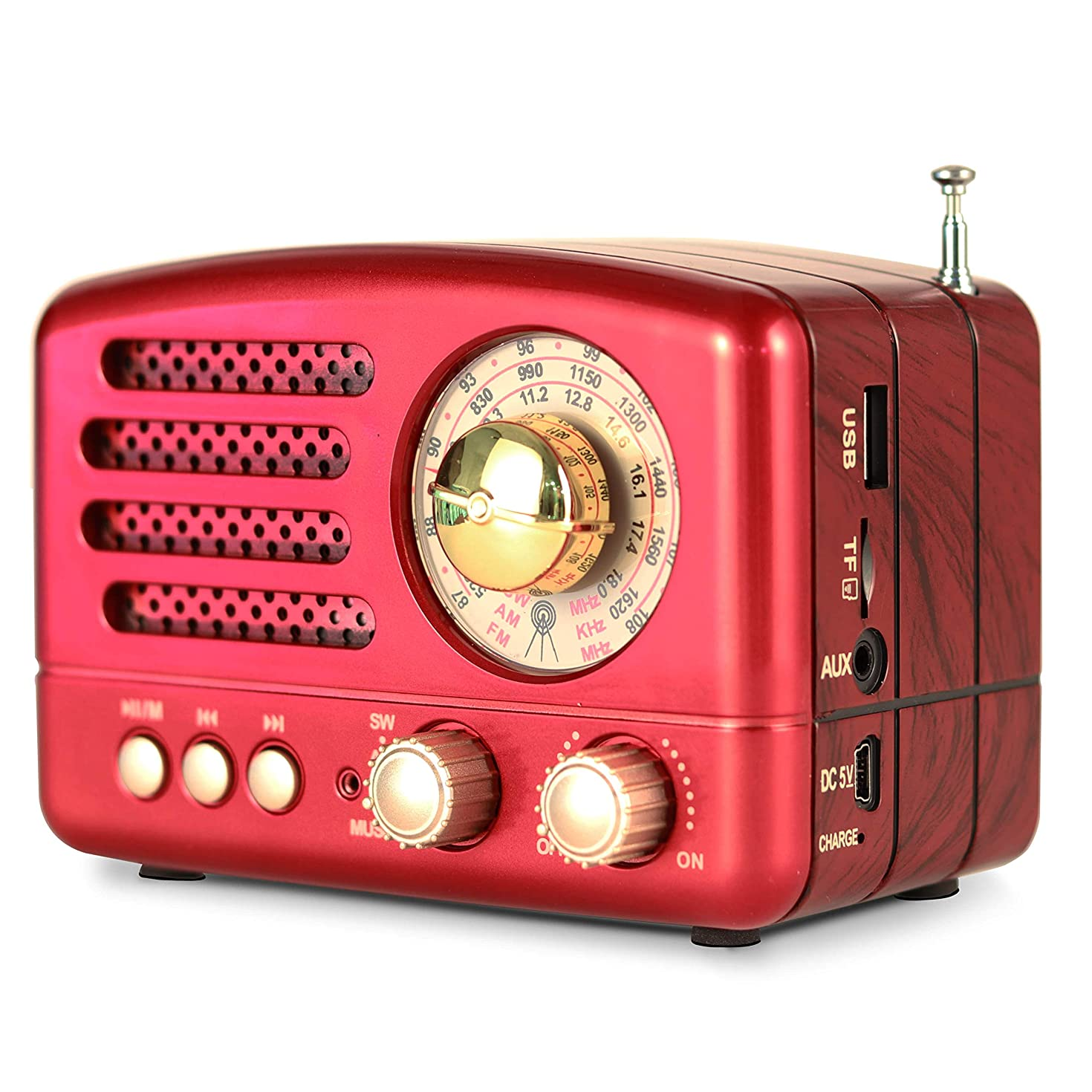 PRUNUS M-160BT Retro Bluetooth Speaker Portable AM/FM/Shortwave Rechargeable Radio, Supports TF Card/Aux/USB MP3 Player(Red)