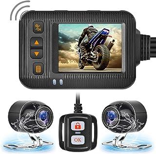 Brteyes Câmera de gravação HD 1080p dupla à prova d'água para todas as motocicletas, câmera frontal e traseira de motocicl...