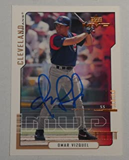 Omar Vizquel Signed 2000 MVP Indians Baseball Card #99 Star Autograph - Upper Deck Certified - MLB Autographed Baseball Cards