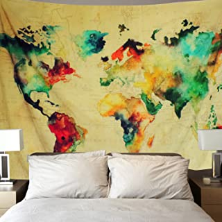 Sunm Boutique Retro Watercolor World Map Tapestry Colorful Map Tapestry Wall Hanging Bedroom Living Room Dorm Home Decor Tapestry(59.1 x 51.2 Inch, Multi)