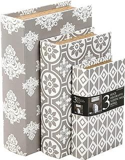 Hosley Storage Memory Book Box Set /3, Gray White Farmhouse Large 12