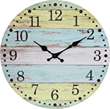 Stonebriar Vintage Farmhouse Worn 14 Inch Round Battery Operated Hanging Wall Clock, Light Blue and Yellow