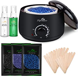 Lifestance Wax Warmer Hair Removal Kit with 3 Bags Hard Wax Beans and 20 Wax Applicator Sticks for Full Body, Legs, Face, Eyebrows, Bikini Women Men Painless At Home Waxing