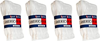 $averPak American Made Cotton Blend Athletic Crew Socks White or White with Grey Heel and Toe (3 Pair Per Band)