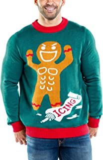 Tipsy Elves Men's Gingerbread Man Roid Rage Christmas Sweater - Green Ugly Christmas Sweater