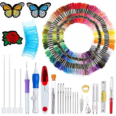 Crotch Hook Punch Needle Cloth Embroidery Tools for DIY Sewing Embroidery Crafts Threaders LUTER 20Pcs Embroidery Punch Needle Kit Embroidery Pen Punch Needle Embroidery Hoops