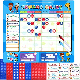 iBaseToy Magnetic Responsibility Chart, Chore Chart for Multiple Kids, Star Reward Chart for Children, Behavior Chart with 210 Reward Stickers, 22 Magnetic Chores and 2 Dry Erase Markers