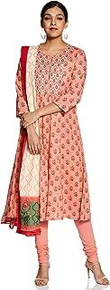 BIBA Women's Cotton a-line Salwar Suit Set