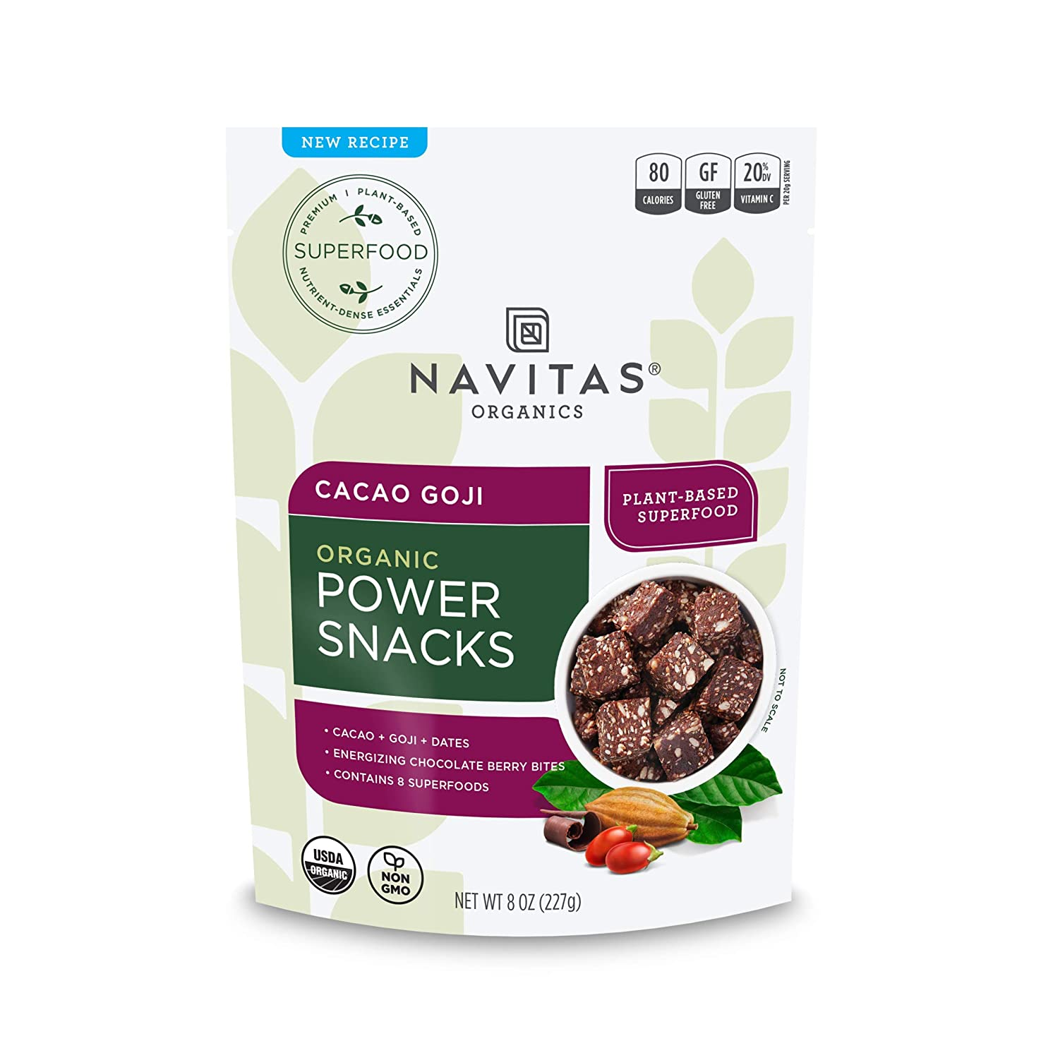 Navitas Organics Superfood Power Snacks, Cacao Goji, 8oz. Bag — Organic, Non-GMO, Gluten-Free