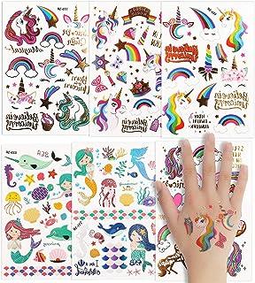 Colmanda Tattoo Kinder, 6 Blatt Tattoos Gastgeschenke Glitze