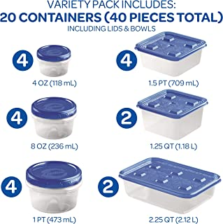 Ziploc Twist N Loc & Press & Seal Container Variety Pack, 40Piece