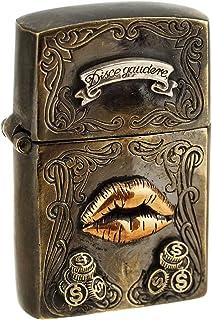 ジナブリング (JINA BRING) ZIPPO ジッポライター アンティーク古美加工 SEXY LIP Kiss キスマーク 唇 Disce Gaudere(ラテン) 楽しむ事を学べ 真鍮&シルバー925 good vibrations