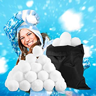 Relaxdays Pack of 50 Artificial Snow Balls for Indoor Snowball Fights, Christmas & Winter Decoration, White