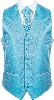 Abel & Burke Men's Formal Wedding Waistcoat Classic 6 Button Jacquard Suit Vest, Tailored Fit V Neck Design, Adjustable Re...