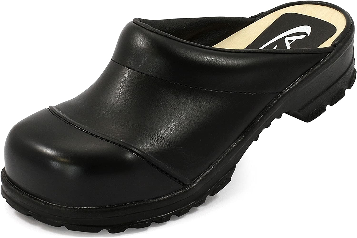 SIKA Comfort Clogs Open with Wooden Sole, Toe Cap, Black, SB SRC