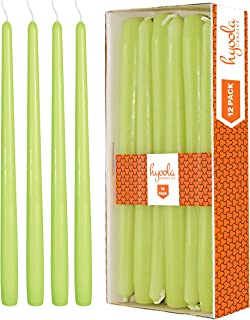 Hyoola 12 Pack Tall Taper Candles - 14 Inch Lime Dripless, Unscented Dinner Candle - Paraffin Wax with Cotton Wicks - 12 Hour Burn Time