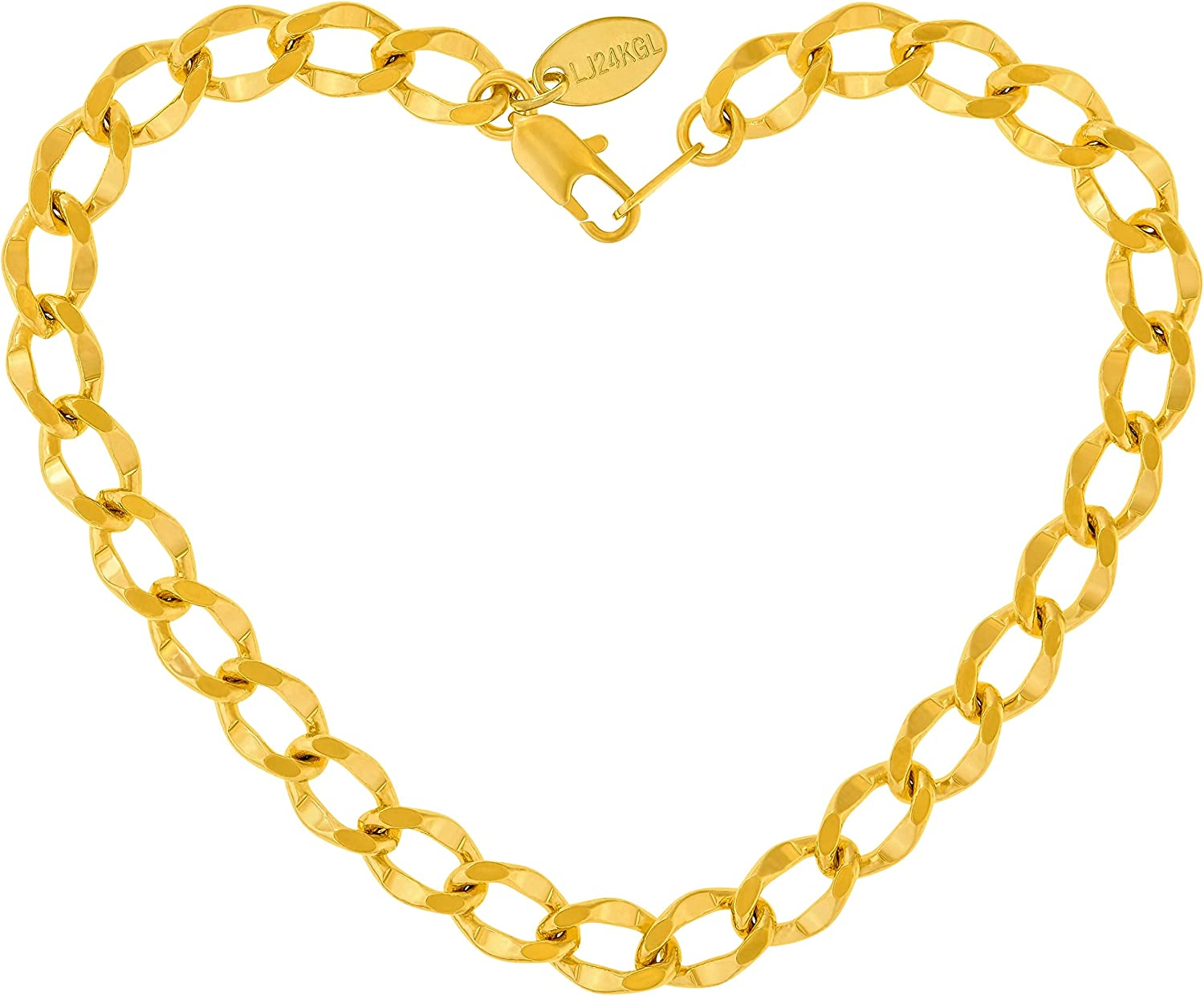 LIFETIME SEAL limited product JEWELRY Diamond Cut Curb Link Gold Anklet for Women safety 24k