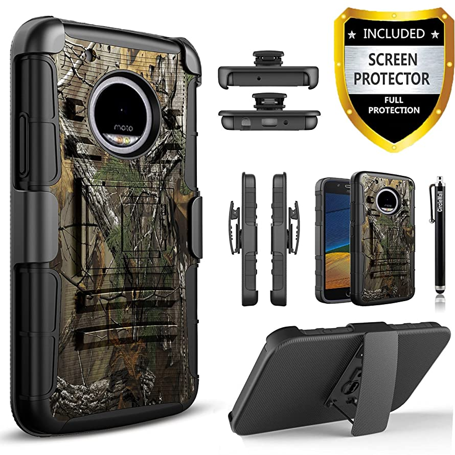 Moto E4 Plus Case , [Not Fit Moto E4] Circlemalls [Combo Holster] And Built-In Kickstand Bundle With [Premium Screen Protector] Hybird Shockproof And Touch Screen Pen For Motorola Moto E4 Plus (Camo)