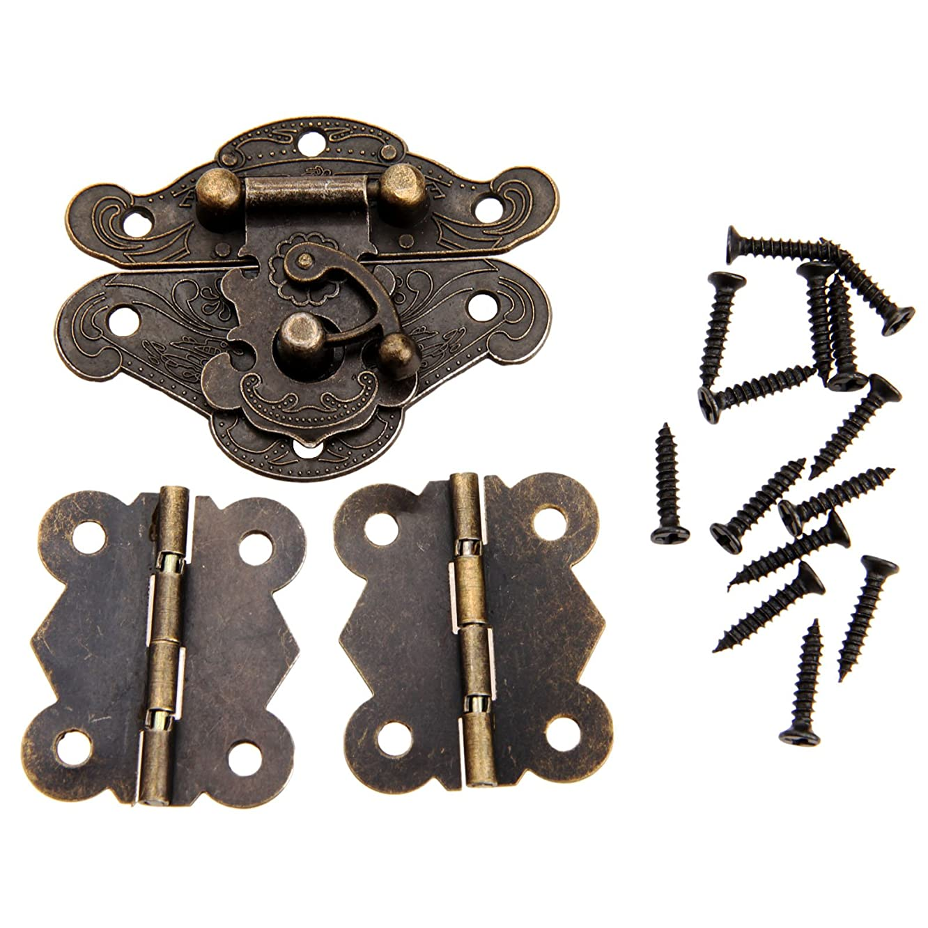1Pc Antique Bronze Jewelry Wooden Box Case Toggle Hasp Latch +2Pcs Cabinet Hinges Furniture Accessories Iron Vintage Hardware 1-