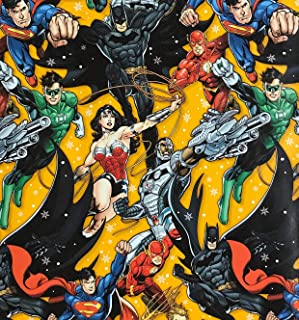 DC Comics Superheros Wrapping Paper Gift Wrap (3.33 Feet Wide - 70 Sq Feet)
