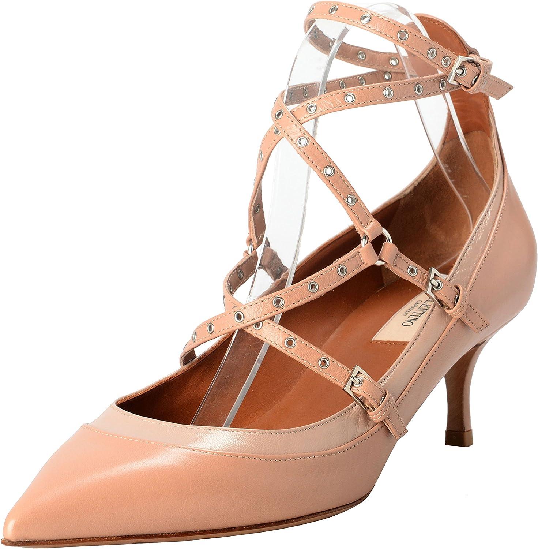 VALENTINO GARAVANI Women's Leather Ankle Strap High Heels Pumps shoes