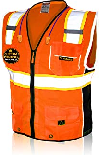 KwikSafety (Charlotte, NC) CLASSIC (10 Pockets) Class 2 ANSI High Visibility Reflective Safety Vest Heavy Duty Mesh with Z...