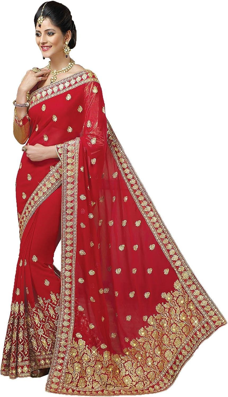 Da Facioun Striking Embroidered Pallu Indian Saree Sari in Red color