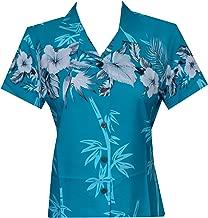 Hawaiian Shirt Women Bamboo Tree Print Aloha Beach Top Blouse Swim