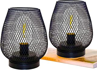 Tollk Lesse 2 Metal Cage Table Lamp Battery Powered, Cordless Accent Light with LED Edison Style Bulb for Bedroom Home Wed...